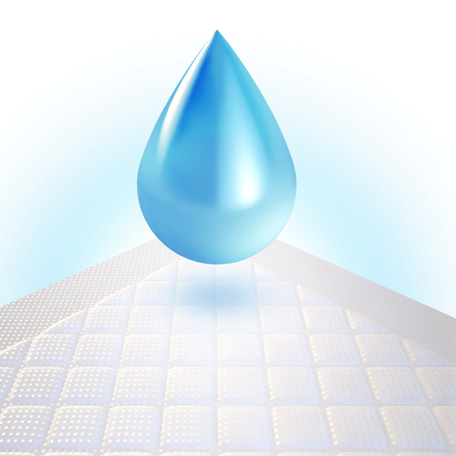 drop of liquid hovering over absorbent pad