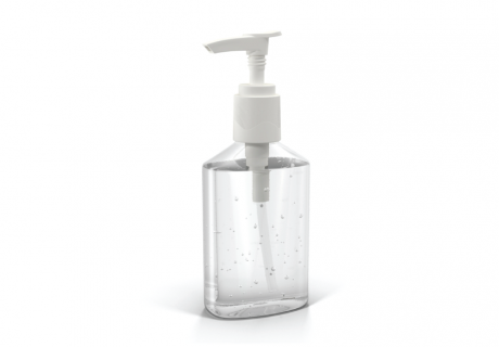 Pump bottle of hand sanitizer