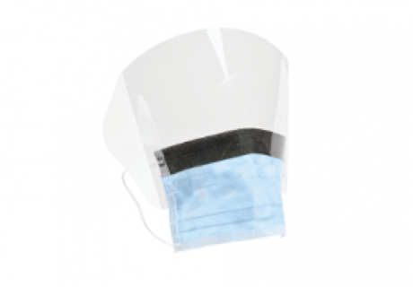 Face shield adhered to procedure mask