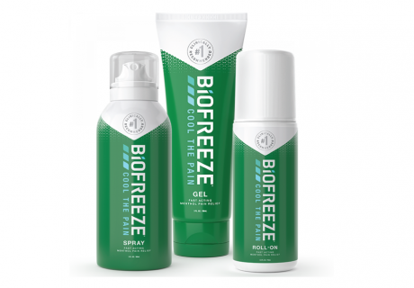 Biofreeze aerosol spray tube and roll-on